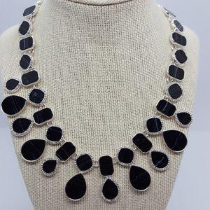 Nine West Silver-tone Black Stone Pavé necklace